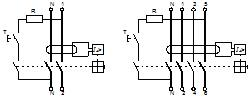 Дифференциальный выключатель (УЗО): а) электрические схемы б) условное графическое обозначение