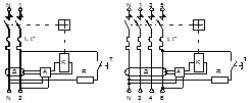 Дифференциальный автомат: а) электрические схемы б) условное графическое обозначение