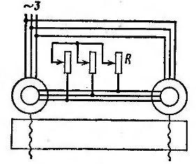 Схема синхронной связи с роторным реостатом