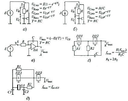 Варианты времязадающих цепей, используемых в электронных реле времени