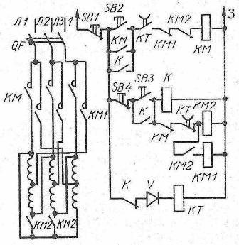 Схема управления в функции времени ступенчатого пуска асинхронного двигателя