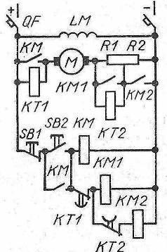 Схема управления в функции времени двигателя постоянного тока параллельного возбуждения