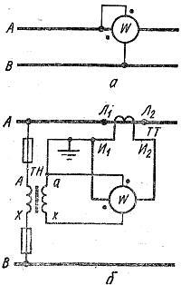 Схемы включения однофазного ваттметра