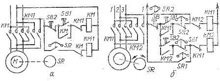 Схемы торможения асинхронных двигателей противовключением: а — нереверсивного; б — реверсивного