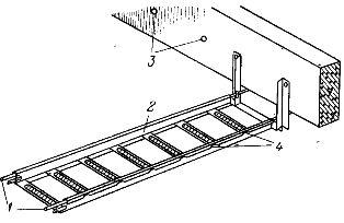 Установка лотков на тросе (катанке) под перекрытием