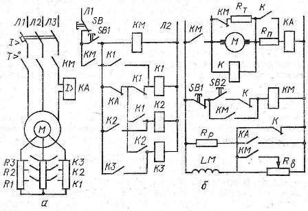 Рис. 1. Схемы управления в функции тока: а - асинхронным двигателем с фазным ротором; б -двигателем постоянного тока...