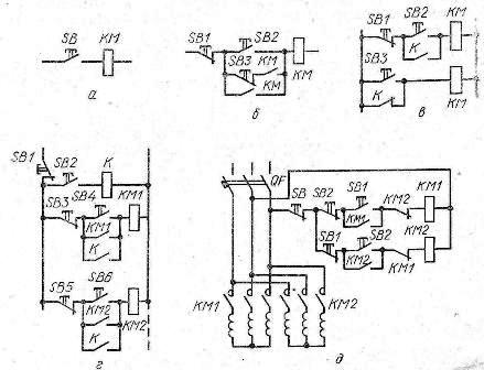 Рис. 2. Разновидности схем управления асинхронными двигателями: а -в толчковом режиме; б и в - при длительной работе...
