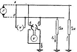 Схема измерения сопротивления изоляции двухпроводной сети вольтметром