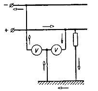 Схема для контроля за состоянием изоляции двухпроводной сети