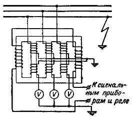 Схема устройства и включения пятистержиевого трансформатора напряжения