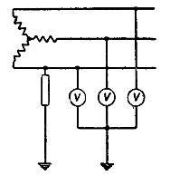 Схема для контроля за состоянием изоляции трехфазной сети