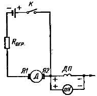 Схема проверки правильности включения обмотки добавочных полюсов по отношению к обмотке якоря