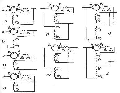 Обозначения выводов обмоток двигателей постоянного тока при различных схемах возбуждения и направлениях вращения