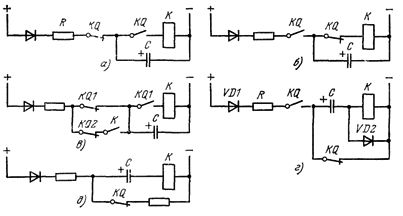 Схемы импульсного включения и отключения реле токами разряда конденсатора