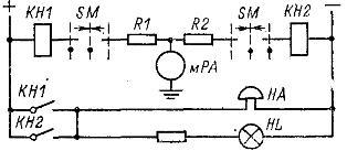 Контроль изоляции в цепях постоянного тока (схема с миллиамперметром и двумя реле)