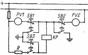 Контроль изоляции в цепях постоянного тока (схема с двумя вольтметрами)