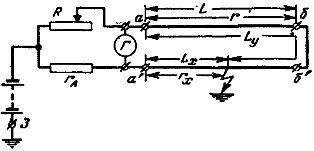 Схема для определения места повреждения изоляции кабеля методом петли
