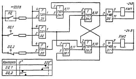 Схема управления возвратно-поступательным движением на элементах серии «Логика Т»