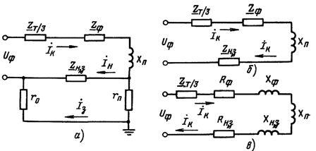 Расчетная схема зануления в сети переменного тока на отключающую способность