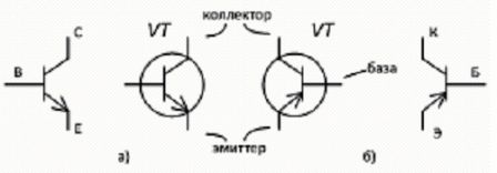 Условно - графическое обозначения транзисторов n-p-n (а) и p-n-p (б)