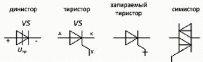 Условно - графическое обозначение тиристоров