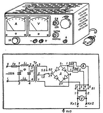электрическая схема пуско-зарядного устройства Пульсар