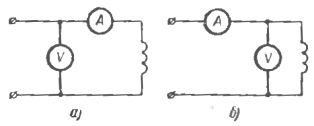 Схема измерения сопротивления обмоток постоянному току по методу амперметра—вольтметра