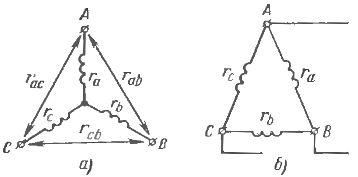 Схема измерении сопротивления обмотки статора асинхронного двигателя, соединенной в звезду (а) и в треугольник (б)