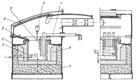 Соляная ванна с вынесенными электродами и перегородкой