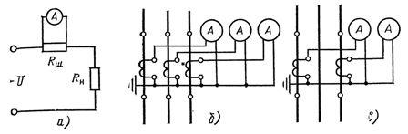 Схемы включения амперметров для измерения постоянного и переменного тока
