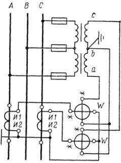 Схема включения двухэлементного ваттметра
