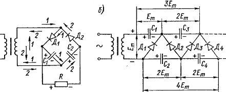 Схемы выпрямителей с удвоением (а) и с учетверением (б) напряжения