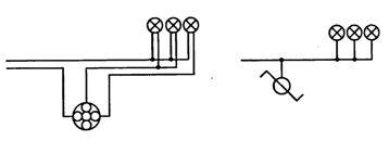 Электрическая и монтажная схемы присоединения к сети электрических ламп одним люстровым переключателем