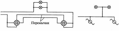 Электрическая и монтажная схемы присоединения ламп к сети двумя переключателями
