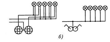 Электрическая и монтажная схемы присоединения к сети электрических ламп