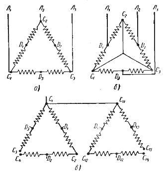 Схемы переключения полюсов асинхронного двигател