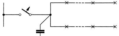 Возможная схема подключения групповой линии при компенсации коэффициента мощности на групповых линиях
