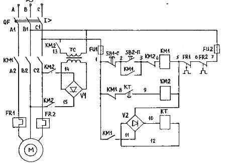 ...линейным контактором КМ1, напряжение постоянного тока - контактором (пускателем) динамического торможения КМ2.