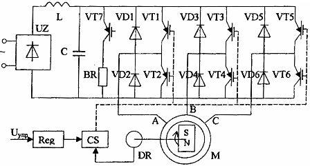 Схема вентильного двигателя с транзисторным коммутатором