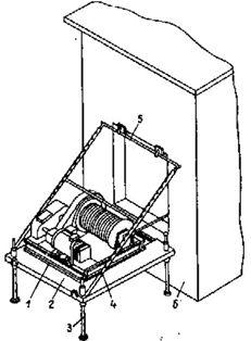 Установка платформы с тяговой лебедкой у проёма вентиляционной шахты