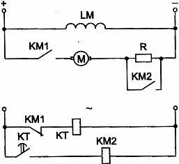 Узел схемы пуска ДПТ параллельного возбуждения в функции времени