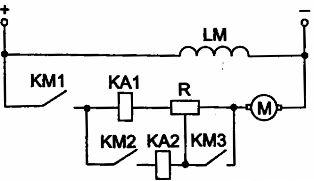 Узел схемы пуска ДПТ параллельного возбуждения в функции тока