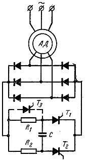 Схема импульсного комбинированного управления асинхронным двигателем