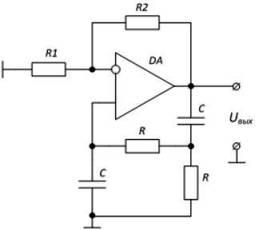 Схема RC-генератора синусоидальных сигналов
