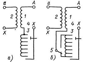 Схема регулирования на трансформаторах без реверсирования (а) и с реверсированием (б) регулировочной обмотки