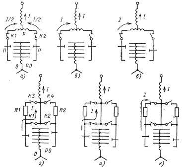 Последовательность работы переключающих устройств РПН с реактором (а—ж) и резистором (з—н)