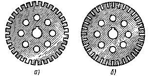 Листы, из которых набирают магнитную цепь ротора: а — с открытыми пазами, б — с полузакрытыми пазами