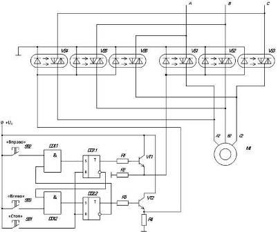Бесконтактная схема управления электродвигателем