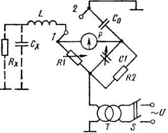 Схема измерения тангенса угла диэлектрических потерь