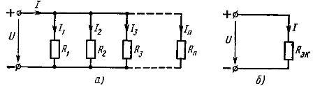Схема параллельного соединения линейных элементов (а) и ее эквивалентная схема (б)